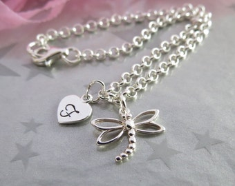 Dragon Fly Charm Bracelet - Hand Stamped Personalized Heart Initial Charm - Hand Stamped Sterling Silver Charm Jewelry - Gracie Jewellery