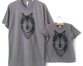 New Dad Gift, Father Child Matching T-Shirts, Dad and Baby, Daddy and Me Shirts, Wolf t-shirt, Father Son shirts, Father Daughter Twinning