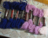 Persian Type needlepoint, crewel , plastic canvas yarn red heart purple and pink  color 100 %Creslan Acrylic 9 pieces