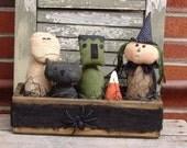 Primitive Halloween Witch Mummy Frank Cat in lathe box, Halloween Decor, Handmade Halloween doll set
