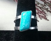 Light blue turquoise, sterling silver ring, Size 9, Rady to ship, girls ring, womens ring handmade