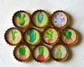Cactus Upcycled Bottlecap Magnets- MADE TO ORDER- Cute Potted Cactus in Super Strong Bottlecap Magnets