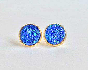 Mini Sapphire Blue Sparkle Druzy Studs