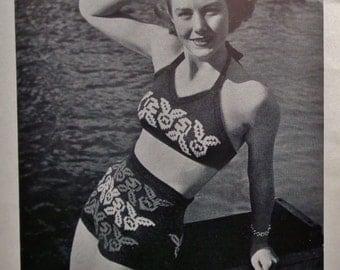 Vintage 40s 50s Knitting Pattern Book - Under Twenty Teen-Age Hand-Knits by Stitchcraft UK - 1940s 1950s booklet - women's sweaters swimwear