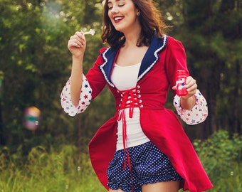 Ringmaster Costume, Ringleader Costume, Women's Ringmaster Jacket, Ringleader Coat, Lion Tamer Costume, 4th of July, Red White and Blue