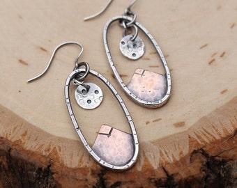 Mountain & Moon Scene Earrings, Silver, Copper