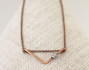 Mini Chevron Necklace, Oxidized Copper with Silver Accent, Minimalist, Wire Jewelry
