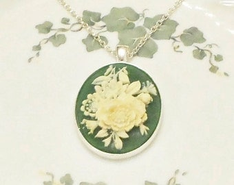 Cream and Sage Green Vintage Look Rose Cameo Necklace silver chain