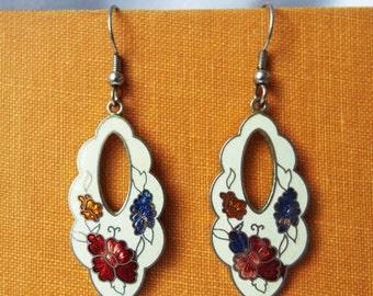 Vintage Cloisonne Pierced Earrings Floral on White Enamel