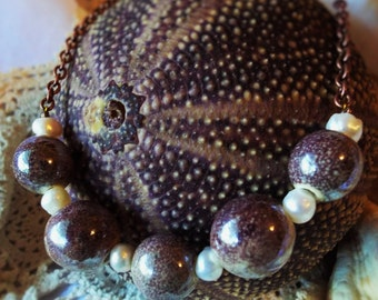 Pearl Bead Necklace Purple Speckled Pottery Beads on Copper Chain