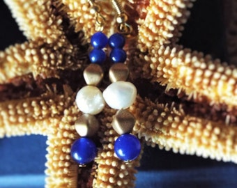 Blue and White Earrings Cobalt Aventurine Freshwater Pearls