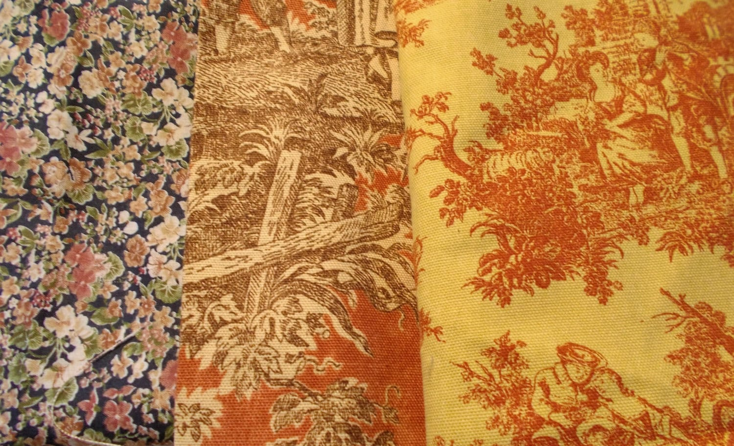 Fabric remnant lot toile waverly sweet pastimes rem country for Fabric remnants