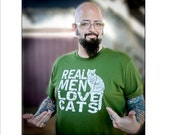 Fathers Day gift, Mens tshirt, Cat shirt, Real Men Love Cats, funny t-shirts, cat dad, cat man, cat lover gift, mens tee, Jackson Galaxy