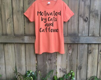 Women's T-shirt, cat t shirt, graphic tees, Pet mom, Cats and Caffeine, coffee, slim fit, Cat lover gift, Funny tshirt, Cat shirt, rctees