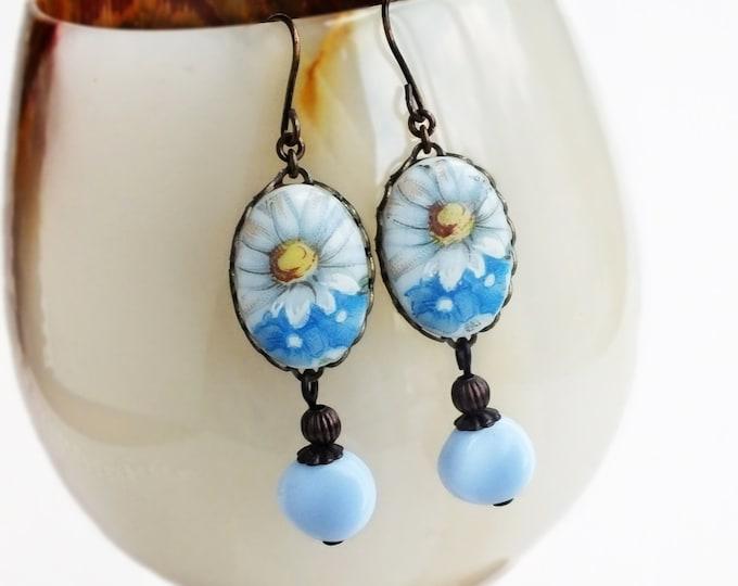 Daisy Earrings Vintage Glass Daisy Flower Cameo Earrings Blue Floral Victorian Daisy Jewelry Blue Flower Earrings
