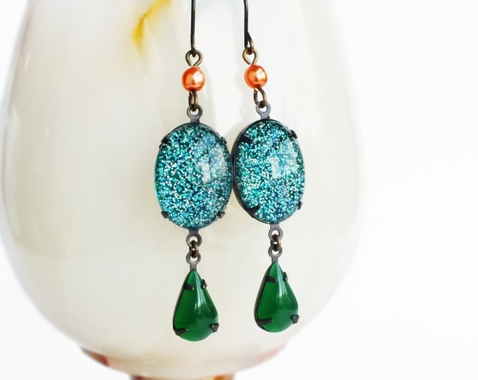 Emerald Glitter Earrings Vintage Domed Glass Cabochons Emerald Green Teal Nail Polish Jewelry