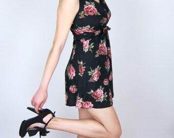 Black & Pink Floral 90's Dress