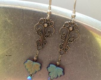 """Purple aqua chandelier earrings iridescent sterling silver-""""Mirabelle"""""""