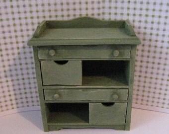 Dollhouse Veggie Bin,SALE,  sage green veggie bin, fruit bin,  country kitchen, miniature kitchen, twelfth scale, dollhouse miniature