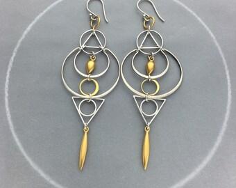 Moon Goddes Geometric Long Earrings