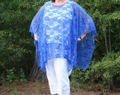 Royal Blue Lace Poncho, Caftan, Tunic, Beach Cover Up, Infinity Scarf