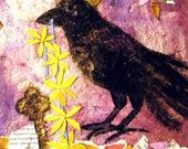 Crowned Crow * Unique bird art print from original collage * Giclee * Whimsical Crow Art * Wall Decor