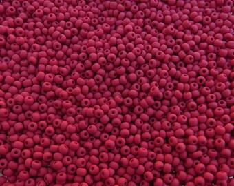 6/0 Matte Opaque Red Czech Glass Seed Beads 20 Grams (CS179)
