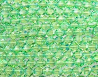 8mm Faceted 2 Way Transparent Sunshine Green Firepolish Czech Glass Beads - Qty 20 (BS440)