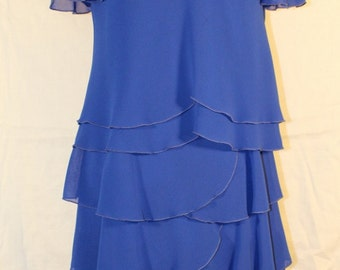 Vintage Woman's 6-Tier Chiffon Dress by Ann Hobbs for Cattiva, Royal Blue, Size 6