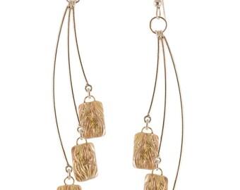 Woven Depths Earrings - Gold Fireworks