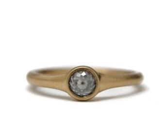 High dome grey diamond ring | 18k gold
