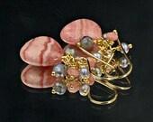 Pink Earrings Rhodocrosite Earring Wire Wrap Gold Fill  Mystic Labradorite Grey Pearl Cluster Earrings Pink Grey Earrings Gift for Her