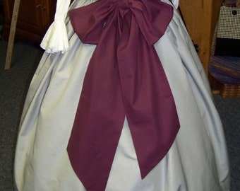 Civil War, Dickens costume Long Drawstring SKIRT and sash one size fit all Gray solid cotton skirt