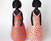 Pair Black Folk Art Women in Colorful Dresses, Figurines, Statues, Hand Painted Pottery