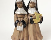 Vintage Black Americana Figurine, Two Singing Nuns Bisque Statue, A Song to Brighten the Day #351