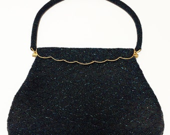 Vintage Carnival Glass Beaded Evening Handbag . midnight blue