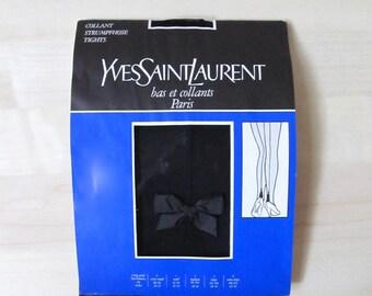 1980 Yves Saint Laurent hose sexy seam ribbon heel sheer black tights Paris lingerie medium 38