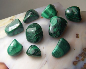 Malachite - tumbled polished stone - used for wire wrap medicine bags etc - green copper mineral - pendant made to order - coyoterainbow