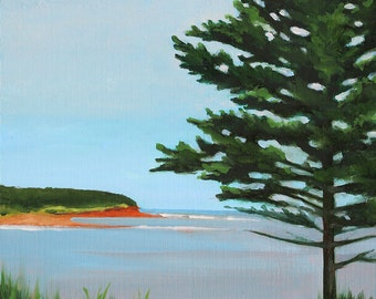"Original 6""x8"" painting by Daina Scarola - East Coast (Seaforth, headland, ocean art, evergreen tree)"