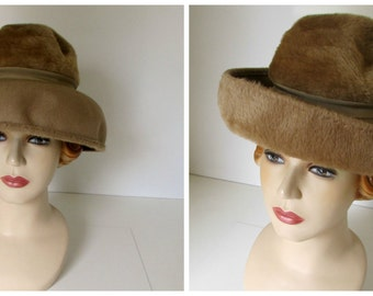 Vintage 1960s Mod Hat Bucket or Halo Style Hat Style Furry Brown Forms to different styles Ann Marie Austria