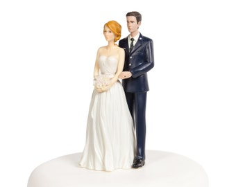 Air Force Wedding Cake Topper - Caucasian Bride and Groom - 702232/702220
