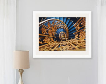 staircase photograph, staircase in paris, golden spiral stairs, staircase, infinite perspective, colorful wall art