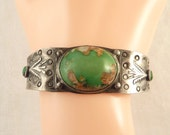 Antique Handmade Native American Sterling Cuff Bracelet with Beautiful Green Turquoise Beads and Quartz Inclusions