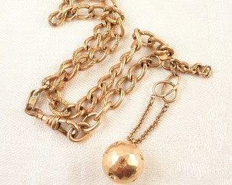 Antique Victorian 14K Gold Faceted Ball Fob on Gold Filled Chain