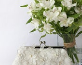 Bridal Clutch with Magnolia Flower Vine Lace in Ivory 8-inches