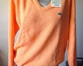 Vintage 70s Dead Stock IZOD / LaCoste Sherbert Orange V-Neck Sweater Size M