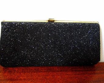 Vintage 60s Black Glitter Clutch Evening Bag Wallet