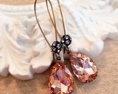 Peach Crystal Earrings - Victorian Jewelry - Fall Earrings - Long Dangle Earrings - COVET Peach