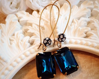 Art Deco Jewelry - Navy Blue Earrings - Art Deco Earrings - Crystal Jewelry - Winter Wedding - Bridesmaid Gift - MADELINE Navy