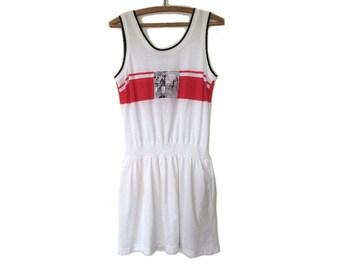 White Cotton Tennis Dress Drop Waist 1980s Medium